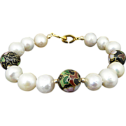 Artisan Chinese AAA Cultured Pearl and Cloisonne Bracelet