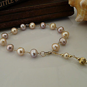 Beautiful Handmade Pastel Colored Cultured Pearl and 14Kt Gold-Filled Link Bracelet