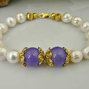 Artisan Jewelry Cultured Pearl, Lavender Jade and 18Kt Gold Filled Bracelet