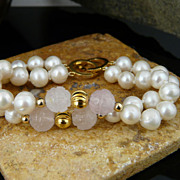 Beautiful and Classic Rose Quartz and Cultured Pearl Bracelet