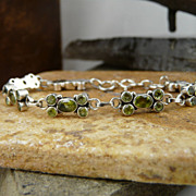 SOLD Delicate and Pretty Peridot and Sterling Silver Bracelet