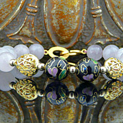 Handmade Natural Rose Quartz, Cloisonne and 18Kt Gold Vermeil Heart Bracelet