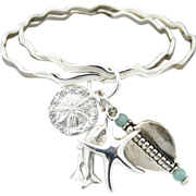 Artisan Handmade Sterling Silver Bangle Bracelets with Sea and Aquamarine Charms