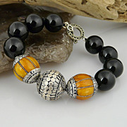 Outstanding Handmade Ethnic Sterling Silver, Amber and Onyx Bracelet