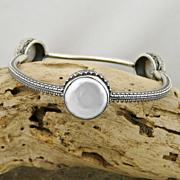 Handmade Artisan Sterling Silver and Cultured Pearl Bangle Bracelet