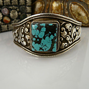 Handmade Artisan Unisex-Nepalese Hand Chased Large .925 Sterling Silver and Turquoise Cuff Bracelet