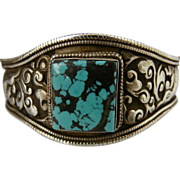 Handmade Artisan Unisex-Nepalese Hand Chased Large .925 Sterling Silver and Turquoise Cuff ...