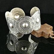 Handmade Artisan Sterling Silver Concho Cuff Bracelet