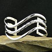 Artisan Sterling Silver Cuff Wave Bracelet