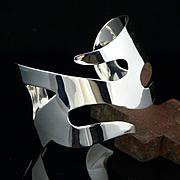 Artisan Handmade Free Form Large Sterling Silver Cuff Bracelet