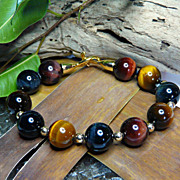 Mysterious Rainbow Tiger Eye and 14KT Gold-Filled Bead Bracelet