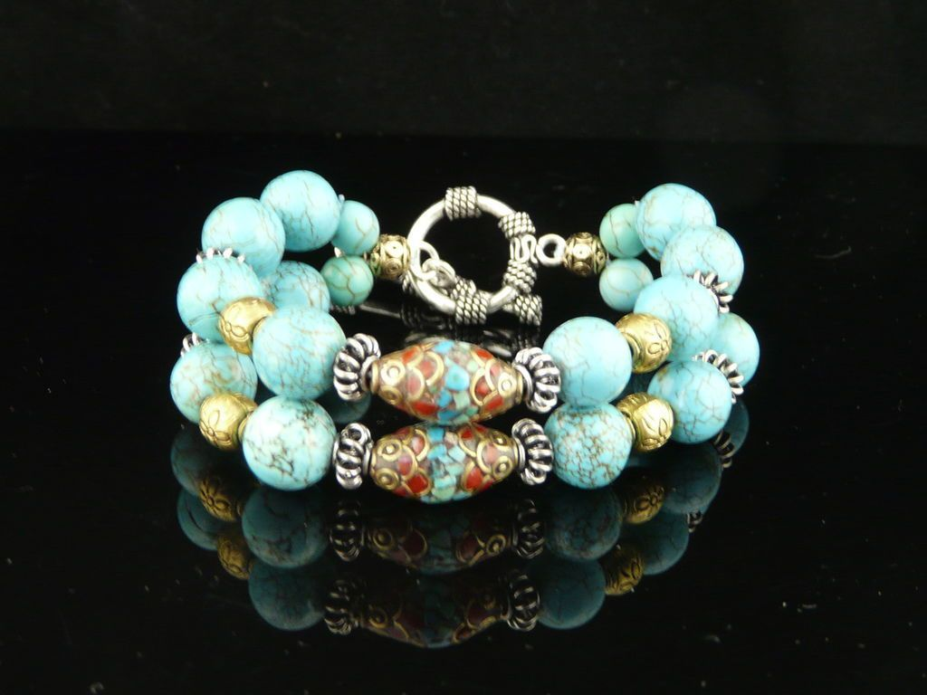 Vintage Appearing Turquoise,  Sterling Silver, and Brass Mosaic Bead Bracelet