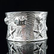 Handmade Artisan Large Sterling Silver Malibu Cuff Bracelet With Sealife Theme