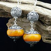Handmade Artisan Bohemian, Natural Baltic Amber and Sterling Silver Dangle Earrings