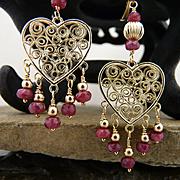 Artisan Handmade Elegant,  14Kt Gold Filled, Natural Faceted Ruby Heart Chandelier Earrings