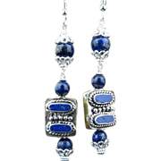 Handmade Artisan Natural Lapis and Sterling Silver Pagoda Earrings