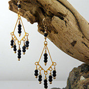 Onyx and 14KT Gold-Filled Earrings