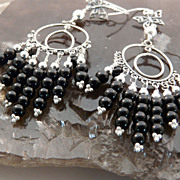 Handmade Artisan Go Everywhere, Long, Onyx and Sterling Silver Chandelier Earrings