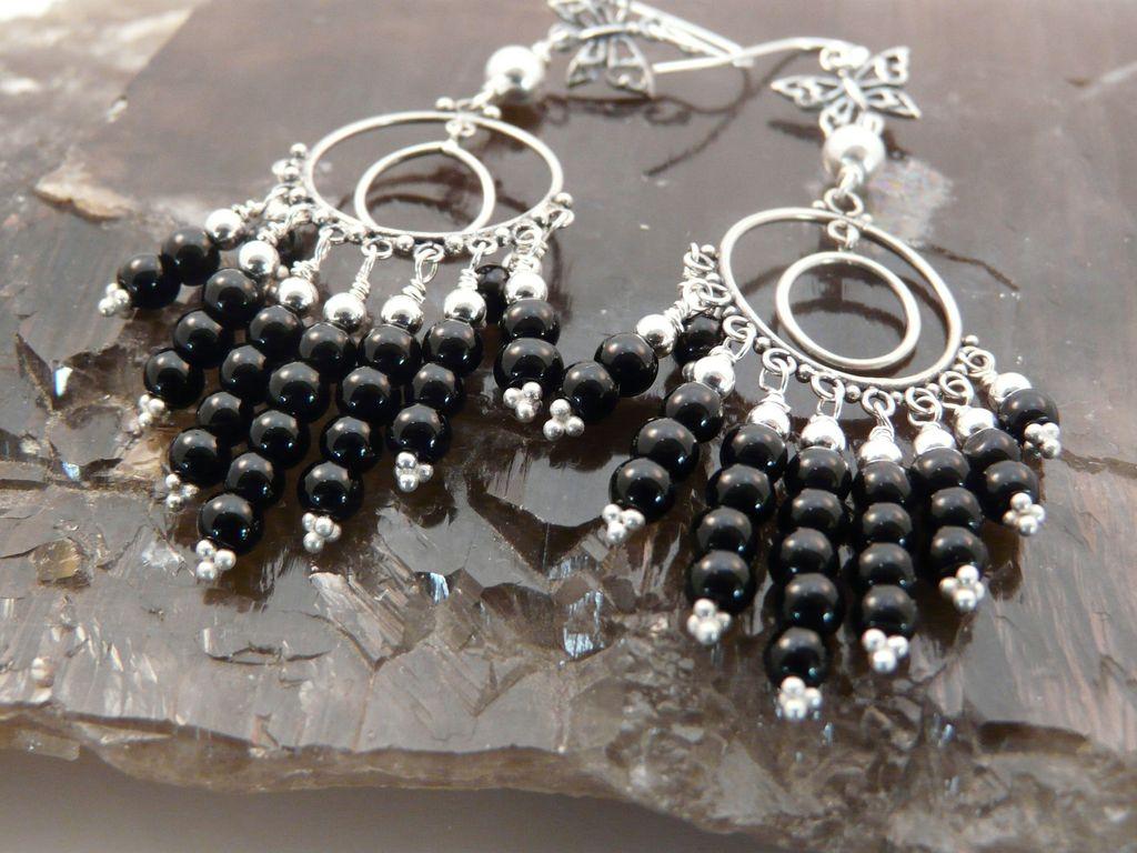 Handmade Artisan Go Everywhere, Long, Onyx and Sterling Silver Chandelier Earrings