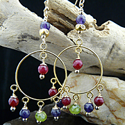 Happy Day Bohemian Artisan Genuine Natural Faceted Peridot, Ruby, Amethyst and 14Kt Gold Fille