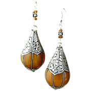 Artisan Handmade Exotic Flavored Amber and Hand Chased Silver Wrapped Dangle Earrings