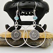 Artisan Handmade .999 Fine Silver Nautilus and Radiating Sun Earrings With Aquamarine