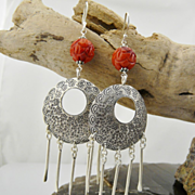 Artisan Handmade Large Natural Coral and .925 Sterling Silver Dangle Earrings