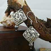 Hand Chased Coin Silver and Onyx Accented Earrings