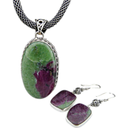 Artisan Handmade Natural Ruby Zoisite and Sterling Silver Ear Rings