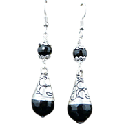 Handmade Etched Sterling Silver and Natural Faceted Onyx Ear Rings