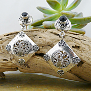 Handmade Artisan .925 Sterling Silver and Natural Onyx Dangle Earrings