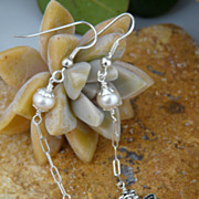Gentle Long Cultured Pearl and Sterling Silver Butterfly Earrings