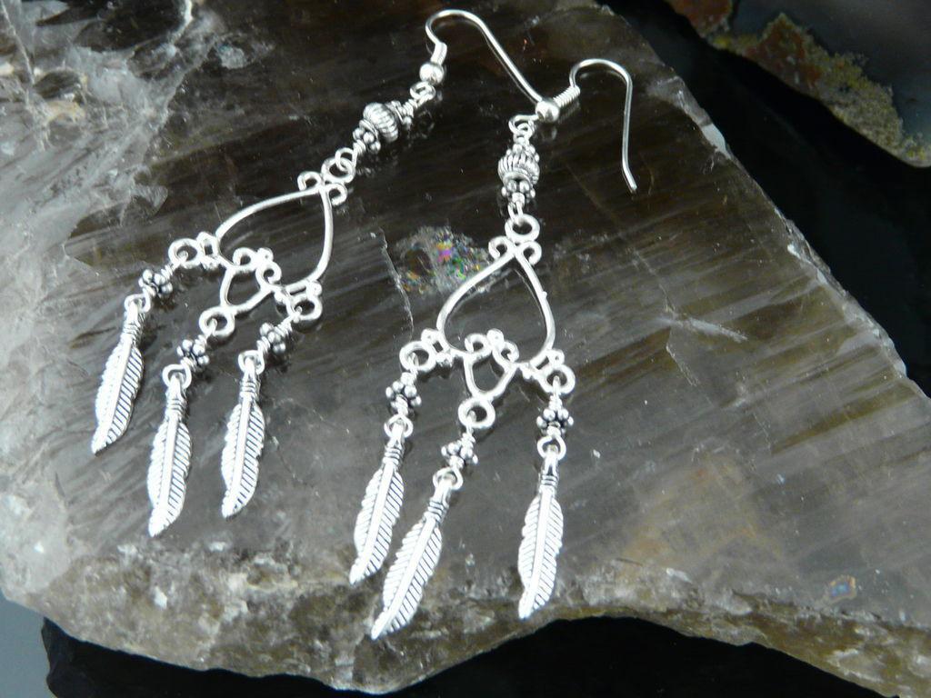 Extra Long Sterling Silver Heart Chandelier Earrings