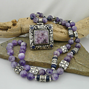 Magnificent Bohemian Artisan Handmade Natural Lapis, Charoite, Amethyst and Sterling Silver Ne