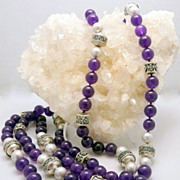 Artisan Handmade Deep Polished Natural Amethyst,  Grey Cultured Pearl and Sterling Silver Necklace