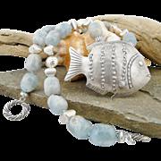 Artisan Handmade Aquamarine, .925/.999 Fine Silver Fish Pendant Necklace/Choker