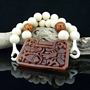Artisan Natural Chinese Hand Carved Burnt Jade and Faux Ivory Necklace