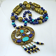 Men's or Women's Handmade Artisan Tribal Nepalese Lapis, Turquoise and Handcarved Solid Brass