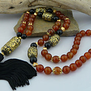 Handmade Artisan Natural Carnelian, Carved Solid Brass and Onyx Tassel Necklace
