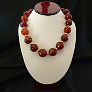 Beautiful Faceted Carnelian and 14KT Gold-Filled Bead Choker