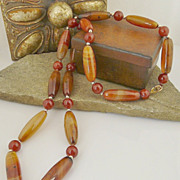Handmade Natural Brazilian Carnelian and 14kt Gold Filled Necklace