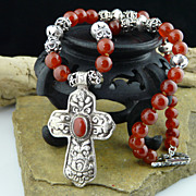 Unisex Spiritual Carnelian,  Sterling Silver and Coin Silver Cross Necklace