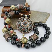 Handmade Beautifully Bohemian Artisan Nepalese Tribal Turquoise, Coral, and Onyx Gau Prayer Bo