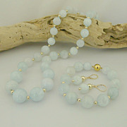 Pretty Handmade Gold Accented Natural Aquamarine Necklace