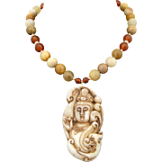 Handmade Artisan Jade, Carnelian Necklace/Choker With Hand Carved Pendant