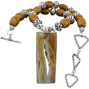 Artisan Handmade Drusy (Druzy) Quartz, Jasper and Sterling Silver Choker With Large Pendant