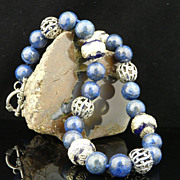 Handmade Natural Lapis, Dragon Embossed Cloisonne, and Artistic Sterling Silver Necklace