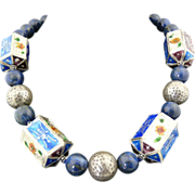 Artisan Handmade Totally Fun Pagoda,Sterling Silver and Lapis Choker Necklace