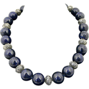 Special Artisan Handmade Natural AAA Midnight Lapis Bead and Sterling Silver Choker Necklace