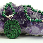 Ferocious Asian Influenced, Handcarved Dragon Natural Malachite Pendant and Necklace